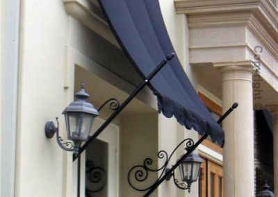 Custom Spear Awning with Dark Blue Fabric