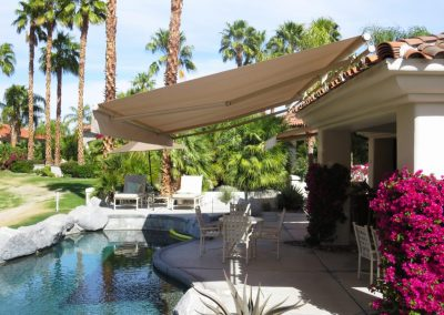 Retractable Awning Solid Color Over Swimming Pool