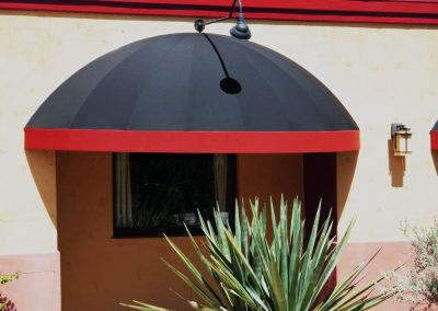 Black Restaurant Awning with Red Trim