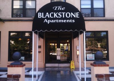 Black Apartment Entrance Awning with Logo