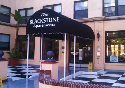 Black Apartment Entrance Awning
