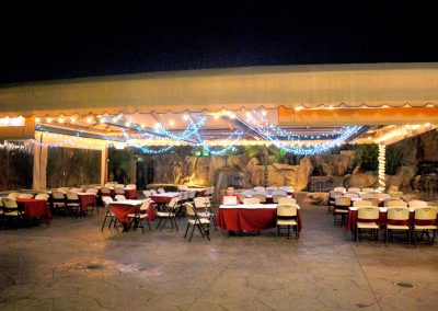 Tan Lighted Dining Canopy