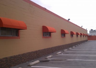 Orange Individual Window Awnings