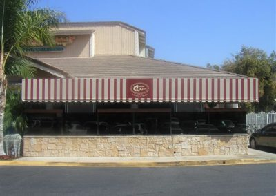 Brown and White Patio Awning with Logo