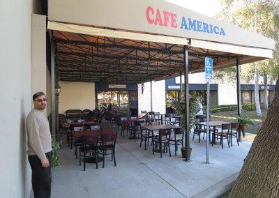 Tan Restaurant Awning at Café America